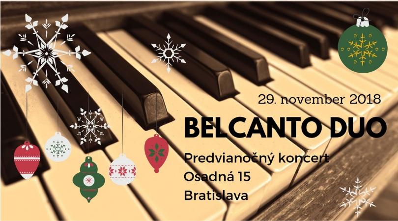 Predvianočný koncert dvojice BELCANTO DUO – 28/11/2018